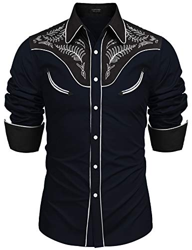 COOFANDY Herren Western-Cowboy-kostüm Retro Shirt mexikanische Mariachi-Kleid Hemd xx-Large 1-Marine-blau