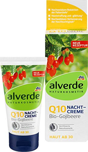 alverde NATURKOSMETIK Q10 Nachtcreme Bio-Gojibeere - Für jede Haut ab 30 Jahren, 50 ml