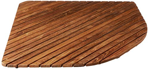 Bare Decor Erika Corner Shower Spa Mat in Solid Teak Wood and Oiled Finish, X-Large, 30