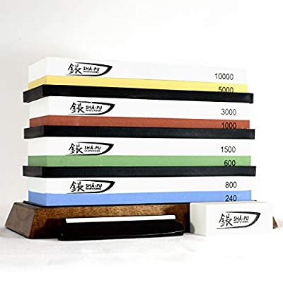 Premium whetstone knife sharpening set | Total of 8 grits stones to sharpen any tool, knife or pocket knife - Includes 8 whetstones, carrying case, acacia wood base, flattening stone and angle guide