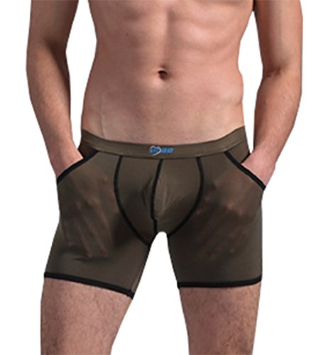 AWEIDS Herren Boxershorts Ice Silk Transparent Gr. L, armee-grün