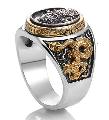 Anillo para hombre, plata S925, anillo de plata de Dios cruzando el mar, anillo de boda retro de moda para novio o padre 14-30# anillo 30#