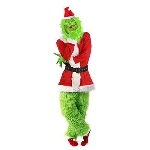 Z-Life Grinch Costume Christmas Santa Adulto Grinch Cosplay Abiti Cosplay Guanti con Maschera Xmas Green 7pcs Outfit Set per Il Gioco di Ruolo Masquerade (Size : X-Large)