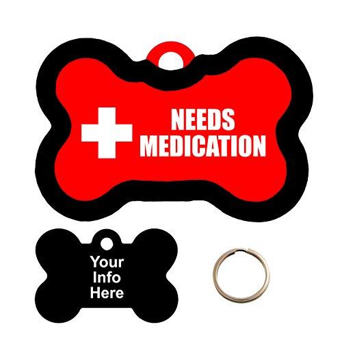 Customized Medical Alert Needs Medication Pet Tag - Bone Shape Dog Tag