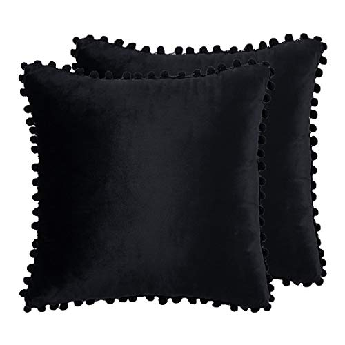 PiccoCasa Pack of 2 Pom-poms Throw Pillow Cover Soft Velvet Decorative Cushion Covers Solid Square Pillowcase for Bed Sofa Couch Car Seat Home Decor, 18 x 18inch, Black