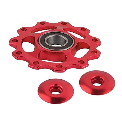 DER Rueda de guía de Bicicleta Guía Moto Rodillo de la Rueda Trasera de la Bicicleta Desviador componentes actualizados MTB Accesorios de Aluminio de aleación de 11 Dientes Bicicleta (Color : Red)