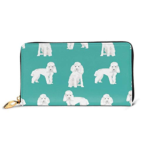 Toy Poodle White Poodles Dog Ladies Purse Large with Multiple Card Slots Capacity Leather Women's Wallet Long Clutch Wallet