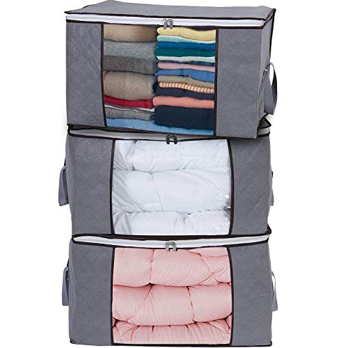 Yopih Large Storage Bags Clothes with Zips 3pcs Duvet Storage Bag Underbed Comforters for Clothing Quilt Bedding Blankets Sweaters 60 x 35 x 40 cm