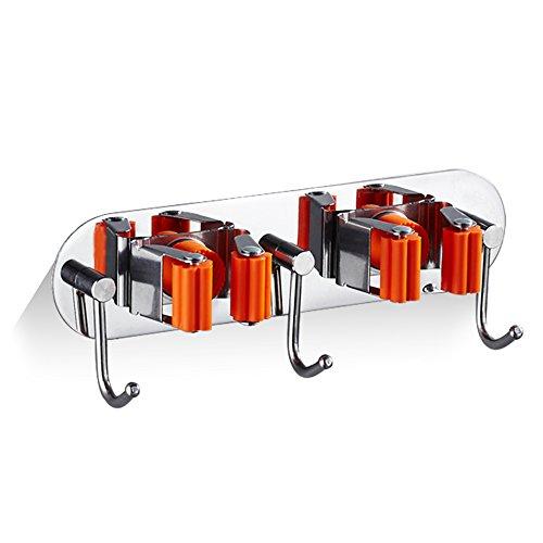 QTKJ Mop houder roestvrij staal - mop - clip frame balkon bad multifunctionele storage rack bezem