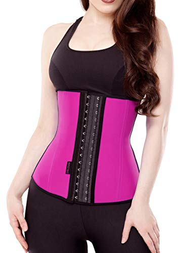 Waist Trainer Corset for Weight Loss Latex Colombiana Waist Cincher Slimming Hourglass Body Shaper Pink Medium