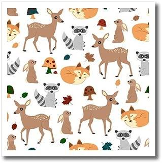 3D Rose Woodland Animals Pattern-Fawn Fox Raccoon Rabbit Iron On Heat Transfer, 6 x 6, White