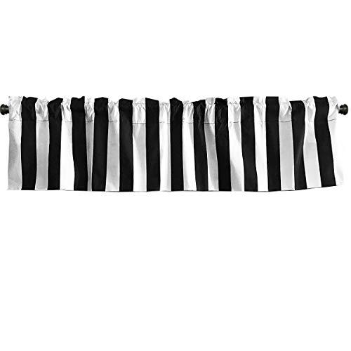 lovemyfabric Cotton Blend 2 Inch Bold Striped Print Kitchen Curtain Valance Window Treatment/Window Decor (58' X14, Black)
