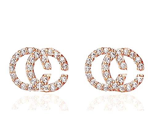 Baobei Women Alphabet Studs Earrings 925 Sterling Silver Rose Gold Plated Cubic Zirconia Stud Earrings Elegent Fine…