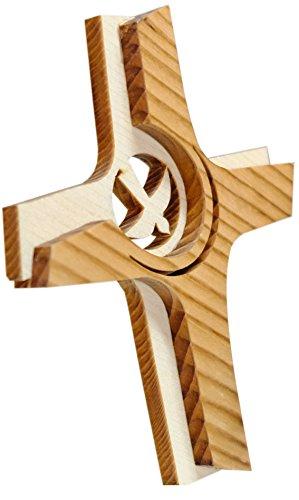 Kaltner Präsente Geschenkidee - 16 cm Wandkreuz Echtes Holz Kreuz Fichte Kruzifix mit Taube für die Wand modern gefertigt im Grödner Tal Südtirol