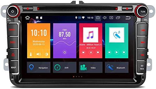 FWZJ 8'Android 10 Navegación GPS estéreo para automóvil Octa Core 4G + 32G Reproductor de DVD estéreo para automóvil Soporte CarAutoPlay Bluetooth 5.0 WiFi MirrorLink Dab + para VW Volkswagen
