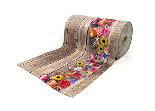 BIANCHERIAWEB Tappeto Passatoia Antiscivolo con Stampa Digitale Disegno Bouquet Legno 50x230 Flowers