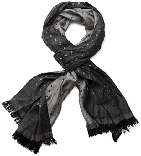 styleBREAKER edler weicher Schal mit Fransen und dezentem Quadrate Muster 01018051, Farbe:Schwarz-Grau