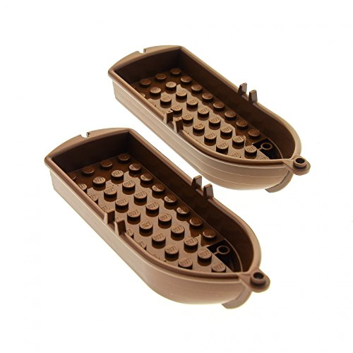 2 x Lego System Boot braun 14 x 5 x 2 Paddelboot Ruderboot Piraten Schiff Soldaten Indianer Insulaner Set 10040 6285 6276 4709 6277 6289 2551