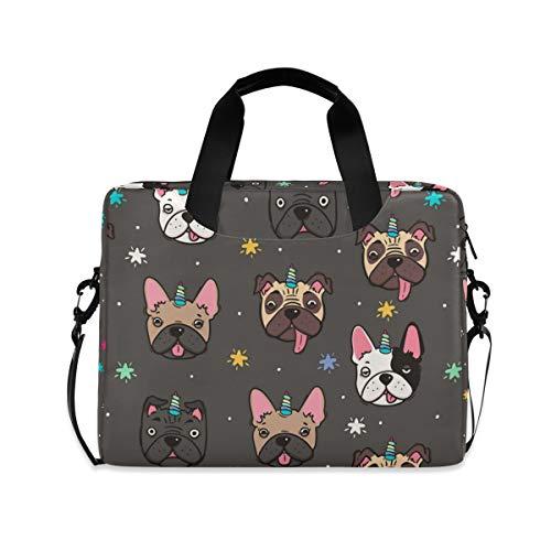 ALAZA Cute Pug Dog French Bulldog Unicorn Laptop Case Bag Sleeve Portable Crossbody Messenger Briefcase w/Strap Handle, 13 14 15.6 inch