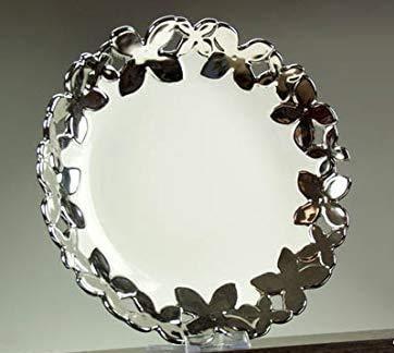 GICOS IMPORT EXPORT SRL - Bandeja Redonda para Centro de Mesa de Cocina de cerámica Blanca y Plateada, 30 cm, DEN-518782