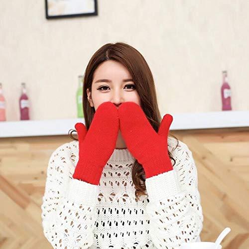 Las Mujeres de Invierno de Punto Grueso de Doble Capa de Felpa de Punto cálido Mitones Mujer Lindo Dedos completos Guantes-Red-10x21cm