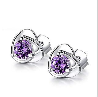 Women Purple Zircon Heart Stud Earrings