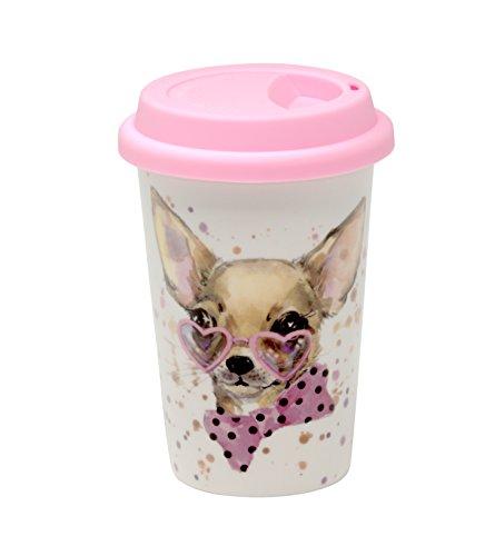 Coffee-to-Go-Becher aus Porzellan Kaffeebecher Trinkbecher Reisebecher Becher mit Deckel Kaffee To Go Becher Porzellan mit Deckel travel mug spülmaschinengeeignet (Hund)