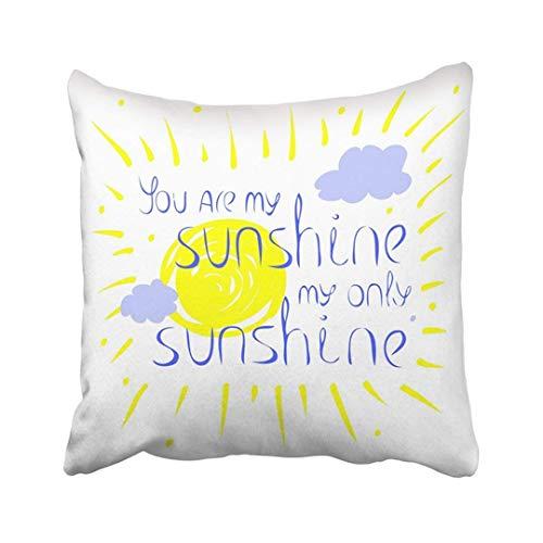 Funda de Almohada Decorativa con Letras de poliéster con el Texto You Are My Sunshine Only se Encuentra contra el Sol y Las Nubes Cojín Funda de Almohada de Dos Lados Estampado Cuadrado para el hogar