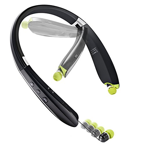 EGRD [Newest Design] Foldable Bluetooth Headset Headphones, Wireless Sports Neckband Bluetooth Headset with Retractable Earbuds for iPhone, Android, Other Bluetooth Enabled Devices with Mic