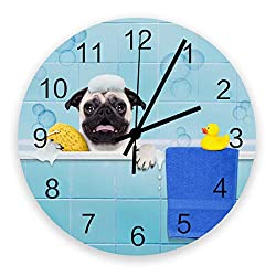 Fandim Fly Wall Clock Battery Operated Non-Ticking,Pug Dog in a Bathtub with Yellow Plastic Duck and Towel 11.8 inch Frameless Round Wood Wall Clocks for Kitchen School Bathroom Living Room