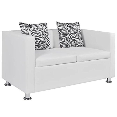 vidaXL 2-Sitzer Sofa Couch Loungesofa Relaxsofa Relaxcouch Kunstleder Weiß