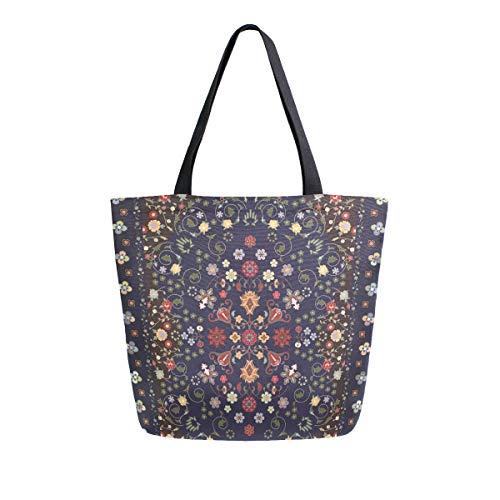 Bolsa de lona con diseño de alfombra de flores, bolsa de transporte,...