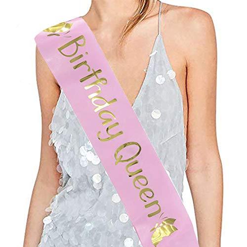 Dsaren Geburtstag Accessoires Frau Geburtstag Schärpe Mann Birthday Girl Schärpe für Party Dekorationen Lieferungen (pink)