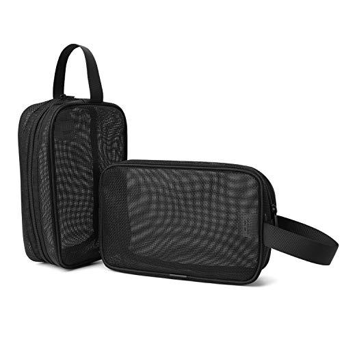 Wind Took Mesh Strandtasche 2-teiliges Set, Kulturbeutel Kulturtasche Kosmetiktasche Multifunktions Clutch Tasche für Strand Reise Urlaub