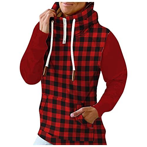 Briskorry Chaqueta de cuello alto, chaqueta con capucha, chaqueta de manga larga, abrigo con bolsillo, Rojo-9., M