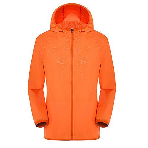 Gelentea Ultraleichte Regenjacke Windbreaker Atmungsaktiv Wasserdicht Winddicht für Damen & Herren, Orange, XL
