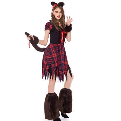 Halloween Cosplay Hexe Kleid Damen Rot Kariertes Kleid Set Lomelomme Cosplay Kostüm Tierkleid...