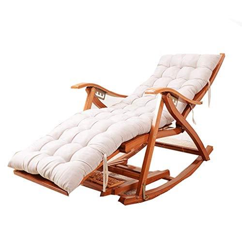 SGSG Tumbona de jardín Plegable, Mecedora de bambú, con Masaje de pies y Almohadilla de algodón Desmontable, Silla para Ancianos Ajustable portátil