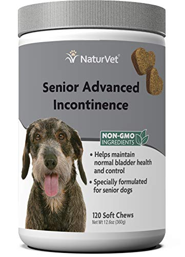 NaturVet Senior Advanced Incontinence Dog Supplement – Helps Support Dog's Bladder Control, Normal Urination – Includes Synergistic Blend of Botanicals – 120 Ct. Soft Chews