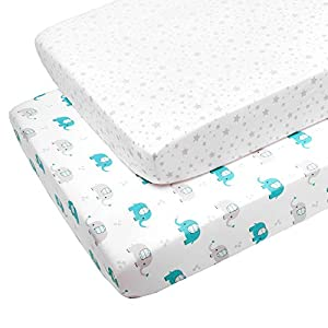 GUBOWIN Baby Crib Sheet Set 2 Pack 100% Jersey Cotton,Ultra Soft Stretchy Portable for Standard Crib Unisex for Baby Boys/Baby Girls Grey Star and Elephant
