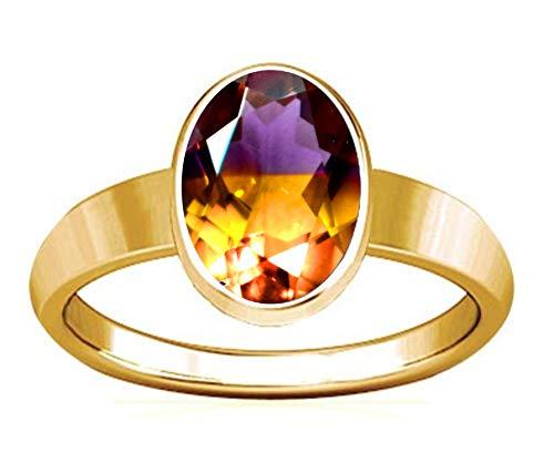 Divya Shakti Panchadhatu Ring 10,25–10,50 Karat Ametrin Edelstein schlichtes Design für Herren und Damen I