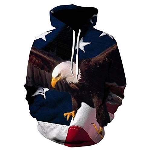 binglinshang Mens Fashion Hoodie Eagle 3d Print Sweatshirts American Flag Hooded Sweats Tops Hip Hop Graphic Pullover 3d Hoodies Men