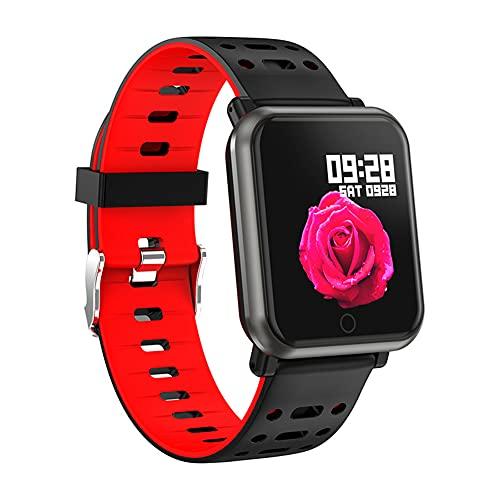 ZOZIZZ Smart Watch, Presión Arterial Monitor de frecuencia cardíaca IP68 Reloj Deportivo a Prueba de Agua Rastreador de Fitness Multifuncional, Rojo