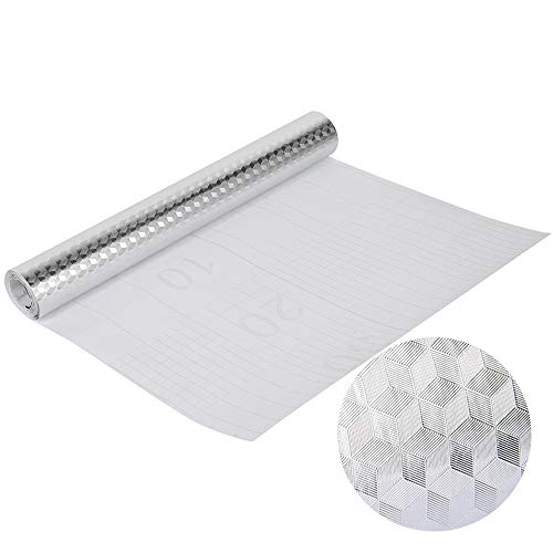 Gurxi Adhesivo Autoadhesivo Resistente al Calor Papel de Aluminio Diy Pegatinas Autoadhesivas Papel De Aluminio para Cocinas Armario Mesas de Muebles (Patrón Hexagonal Plateado)