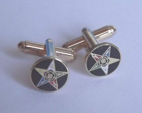 Avec symbole franc ordre de l'émail-Bouton de manchette rond en forme d'étoile