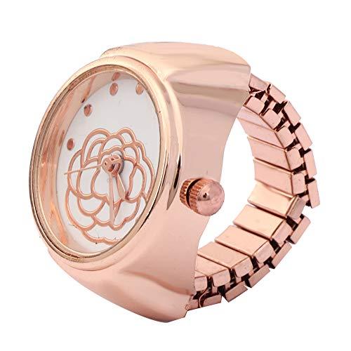 【Cadeau d'Avril】 Reloj con Anillo de Cuarzo para Dedo, Flor Rosa, Reloj de...