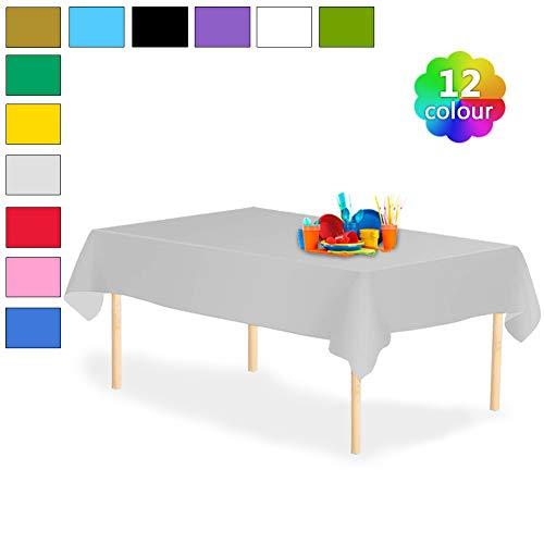 YANGTE Einweg Tischdecke aus Kunststoff 4 Stück,Silber Plastik Tischtuch Rechteck 137x274cm für Tische im Indoor und Outdoor Partys, Garten, Geburtstage, Hochzeiten, Weihnachten