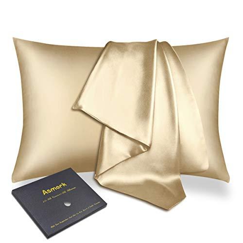 Asmork Funda de almohada 100% seda de morera para cabello y piel, ambos lados de 22 mm, funda de almohada de seda natural, cremallera oculta, cómoda y lujosa, 1 pieza (champán, Queen 50 x 76 cm)