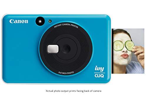 "Canon IVY CLIQ Instant Camera Printer, Mini Photo Printer with 2""X3"" Sticky-Back Photo Paper(10 Sheets), Seaside Blue"