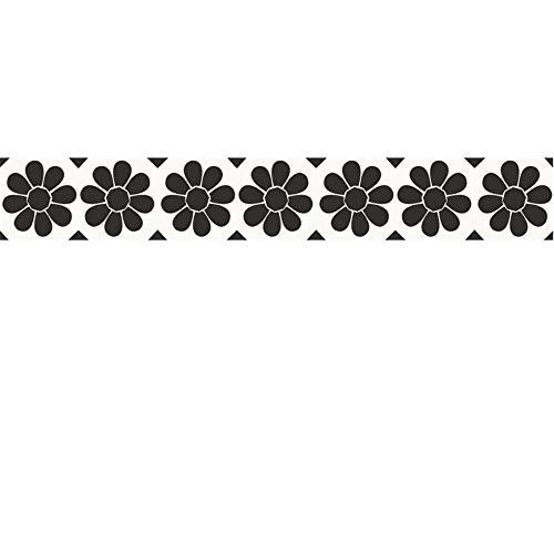Cenefas Adhesivas Cocina De Friso Papel Para Paredes DecoracióN De Pared De Cocina, BañO,Pvc Cenefa Autoadhesiva Para DecoracióN Girasol blanco y negro 12cm X 500cm